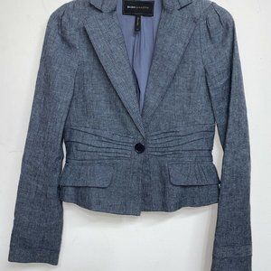 BCBG MAXAZRIA Gray Blue Blazer Jacket Career Size